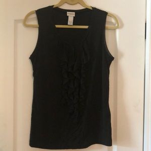 Chico Black Ruffle Front Blouse  Size Small